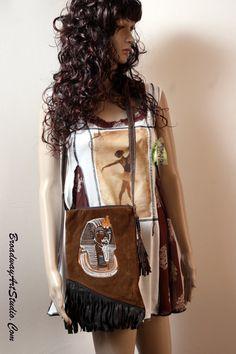 "One of a kind, handmade, ""Tutankhamun"",  cross body bag, by BroadwayArtStudio on Etsy"