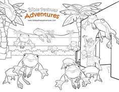 Enjoy our free coloring page: Plague of Frogs. Fun for kids to print and learn more about Moses and the Passover. Feel free to share with others, too!