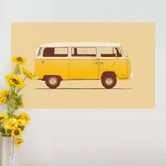 """- Product: decal of a yellow VW Microbus - Sizes: S-8""""w x 4.8""""h; M-15""""w x 9""""h; L-36""""w x 21.5""""h - Colors: yellow, white, black - Style: urban, hippie, retro, vintage, 60's - Material: fabric sticker, n"""