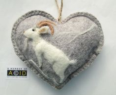 Heart shaped hanging ornament needle felted by SweetLibertyBelle