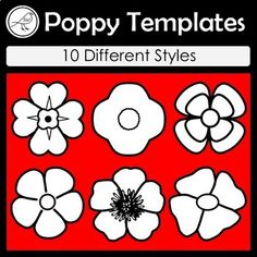 A handy resource for war remembrance days such as: ♦ Anzac Day ♦ Remembrance Day ♦ Armistice Day ♦ Veterans Day 10 Different Designs: Great for making wreaths and other craft activities. Made on A4 size paper. 12 poppies per