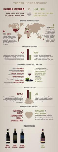 #Infografia: Cabernet Sauvignon Vs. Pinot Noir. #Vino