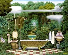 Kieszonkowa dzungla - Lazienka, Pocket jungle - Bathroom, 2003, pastel, papier, 48 x 60