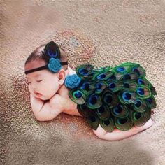 Peacock Green Girl Newborn Baby Photography Prop Headband Newborn Infant