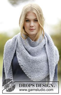 """Loving Embrace - Knitted DROPS shawl in garter st in """"Air"""". - Free pattern by DROPS Design"""