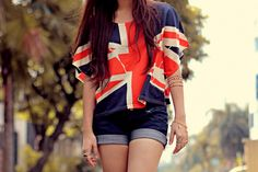Union Jack Top and Denim Shorts  //  Via Tumblr