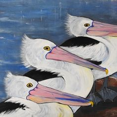 (CreativeWork) Why are we all sitting like this Andy?  Someone said Duck, Craig! by Julie Hollis. arcylic-painting. Shop online at Bluethumb. Quirky Art, Weird Art, Buy Art Online, Paintings For Sale, Online Art Gallery, Original Art, Bird, Abstract, Nature