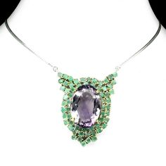 A Vintage 55CT Oval Cut Purple Amethyst and Emerald Pendant Necklace