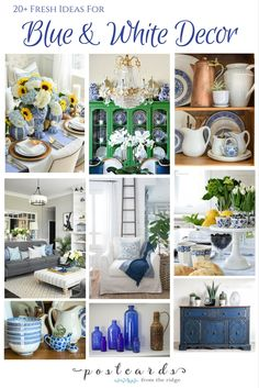 Ideas for using blue and white decor including tips for the bedroom, living room, kitchen, dining room, and more.
