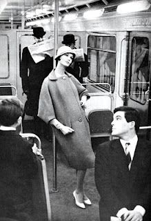 Jardin des Modes March 1958 Haute Couture in the Paris metro. Photo by Frank Horvat