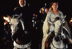 Arthur (Sean Connery) brings Guinevere (Julia Ormond) to Camelot