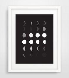 Moon Phase Moon Art Moon Wall Prints Moon by MelindaWoodDesigns #moon #black #white