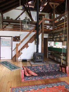 Hancock barn rental - LR swing seat and stairs leading to upper floors.  Sleeps 10-12
