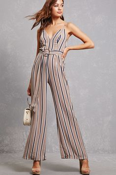 6379bd1bccc A woven palazzo jumpsuit featuring a V-neckline with an elasticized back