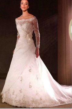 Ruching Off The Shoulder Tulle Floral Lace Sleeves Wedding Gowns 2012