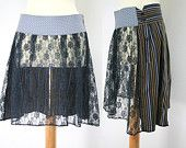 Asymmetric lace and cotton skirt made from cut offs and upcycled mens shirt - by Bartinki @ http://www.etsy.com/shop/Bartinki