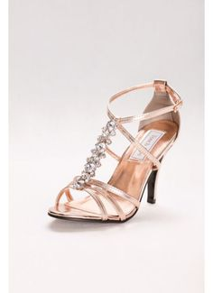 View Vanessa Metallic T-Strap Sandal with Crystal Row 535 Bridesmaids Heels, Rose Gold Sandals, Evening Shoes, T Strap Sandals, Designer Heels, Davids Bridal, Wedding Shoes, Party Wedding, Kitten Heels