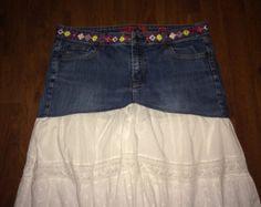 RESERVED - Custom Order for jettalee108 - Upcycled Denim Peasant Skirt, Size 12 - Etsy