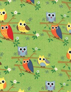 Moda Ten Little Things Wide Eyed Hoot Owls Green fabric