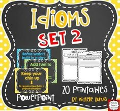 Idioms ** idioms printables ** idioms PowerPoint - 20 idiom printables and a PowerPoint that will help your students learn and understand the meaning of idioms. On each worksheet, students must explain and illustrate one idiom.