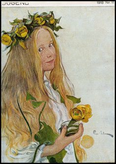 "Swedish artist Carl Larsson contrbuted this illustration to German publication ""Jugend"" in 1918-(Heidelberg University Library)"