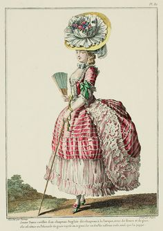Galerie des Modes, 21e Cahier, 4e Figure Young Lady coiffed with an English hat called a chapeau à la Turque, trimmed with flowers and gauze; she is dressed in a Polonaise of gauze striped with silver on a ground of pink taffeta, as is the petticoat. (1779)