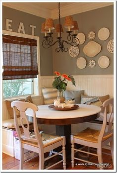 Breakfast nook or dining nook.  Very cute space with a window seat too!  #windowseat