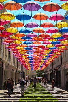 New post on lensblr-network Umbrella Lights, Umbrella Art, Umbrella Street, Umbrella Decorations, Street Art, Colorful Umbrellas, Shade Structure, Cafe Design, Outdoor Art