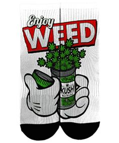 100% Dri fit Polyester enjoy weed socks. short ankle length black heel with mid foot compression. Perfect for matching with your sneakers and making a statement. Full color all over sublimation print...