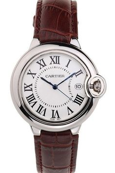 Buy Imitation Mens Cartier Ballon Bleu 42mm White Dial Stainless Steel Case And Bezel Watch With Brown Leather Strap