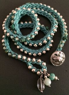 Crochet wrap bracelet / necklace aqua silver by CoffyCrochet