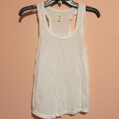 F21 racer back White racer back with ribbed edges. Worn once. Forever 21 Tops