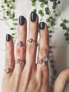 Amethyst stacking rings. If only the wire was silver instead of copper.