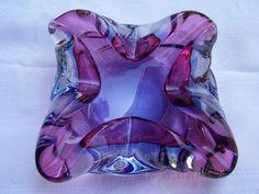 Vintage Pink and Blue Heavy Glass Ashtray Mid Century Modern Murano | eBay