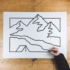 Another paint pen drawing. Each line is about 3 strokes thick.    #art #illustration #mountains