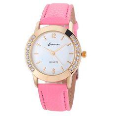 13c7c142df1 Geneva Fashion Women Diamond Analog Leather Quartz Wrist Watch Watches