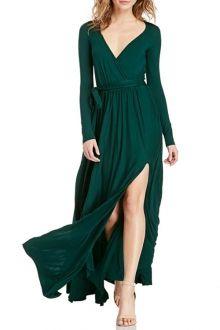 Pure Color Slit Plunging Neck Maxi Dress