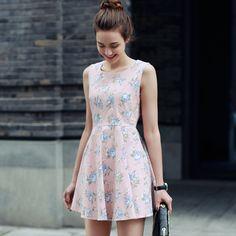 Summer Women Elegant Floral Printed Dresses Sleeveless O-Neck Beach Dress Vestidos De Festa Vintage Dress