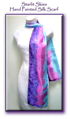 Hand Painted Long Thin Silk Scarf in Pink Purple by StarlitSkies