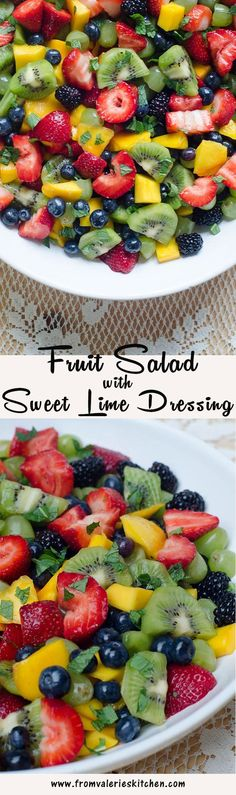 A vibrant fresh fruit salad with a simple sweet lime dressing and garnished with fresh chopped mint. ~ #sp #createwithcrisp http://www.fromvalerieskitchen.com/wordpress #GettingFruity