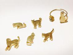 【再販5】猫のゴールドリング(選べる形・ストーン)