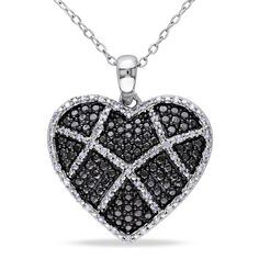 Catherine Catherine Malandrino 1/5ct TDW Diamond Crisscross Heart Necklace in Sterling Silver with Black Rhodium, Women's, Size: 18 Inch, White