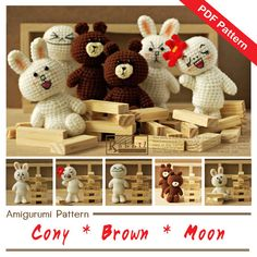 ♡.·° THIS IS CROCHET PATTERN ONLY - NOT A FINISHED TOY ♡.·° This Amigurumi Cony, Brown, and Moon created by Rabbiz Design will guide you through