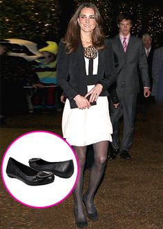 Black Flats - Middleton mixes comfort with style by pairing a black-and-white cocktail dress with a simple pair of ballet flats.