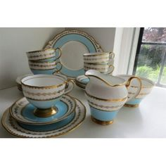 Vintage Salisbury English Fine Bone China Tea set for 5 in duck egg blue