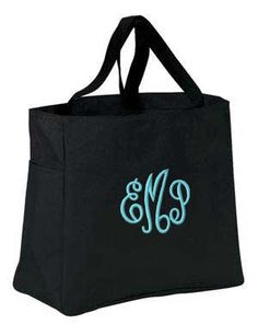 Monogrammed Black Tote Bag by MonogrammedGifts on Etsy, $15.00  Perfect!