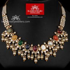Jewelry Set Maharani Navaratna Polki Necklace - Necklace L : 15 inches; W : 1 inches Earrings L : inches; W : inches Necklace Wt : g Earrings Wt : g Screw Type : Bombay Screw. Jewelry Sets, Jewelry Necklaces, Diamond Necklaces, Jewelry Making, Clay Jewelry, Diamond Pendant, Fine Jewelry, Jad, Gold Jewelry Simple