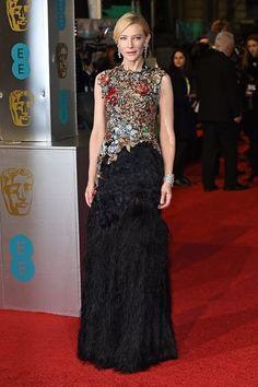 Cate Blanchett en robe Alexander McQueen et bijoux Tiffany & Co. aux BAFTA 2016
