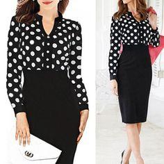 Formal V-Neck Polka Dot Splicing High-Waisted Long Sleeve Dress For Women, BLACK, M in Long Sleeve Dresses   DressLily.com