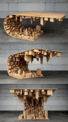 """""""Inception"""" Coffee Table Defies Gravity and Suspends Citysca.- """"Inception"""" Coffee Table Defies Gravity and Suspends Cityscape in Mid-air Coffee table Stelios Mousarris Design Furniture, Unique Furniture, Table Furniture, Furniture Removal, Furniture Ideas, Furniture Logo, Furniture Movers, Furniture Makeover, Lego Furniture"""